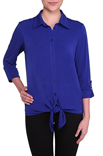 Nygard Women's Petite Slims Button Front Blouse With Tie Nygard Blue