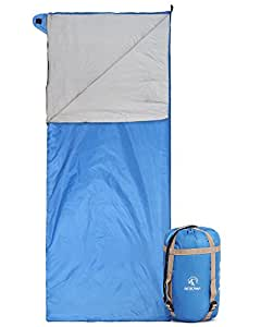 """REDCAMP Ultra Lightweight Sleeping Bag For Backpacking, Comfort for Adults Warm Weather, with Compression Sack Blue(75""""x 32.5"""")"""