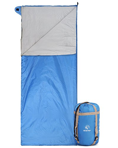 REDCAMP Ultra Lightweight Sleeping Bag for Backpacking, Comfort for Adults Warm Weather, with Compression Sack Blue (75