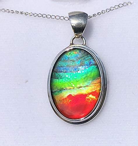 5bb7e0d08 Amazon.com: Ammolite Pendant 925 Sterling Silver Oval Pendant #4SP ...