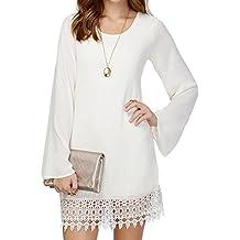 Clothink Women Black/White Trumpet Sleeve Lace Hem Plain Shift Dress