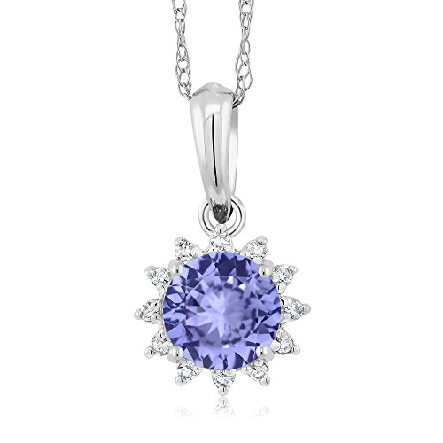 18K White Gold 0.46 Ct Round Blue Tanzanite Diamond Pendant With Chain by Gem Stone King