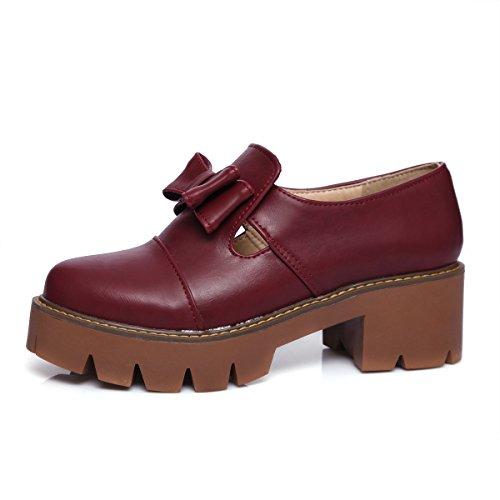 Show Shine Womens Chunky Heel Archi Plateau Mocassini Scarpe Vino Rosso