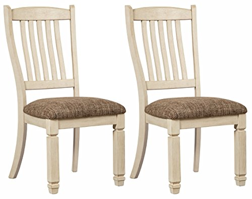 Signature Design by Ashley D647-01 Bolanburg Upholstered Set of 2 Chairs (Antique White Set Dining Table)