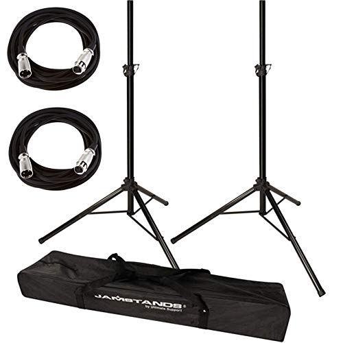 (Ultimate Support JamStands JS-TS50 Tripod-Style Speaker Stand, Pair With Carry Bag + 2 XLR Mic Cables 20 Ft)