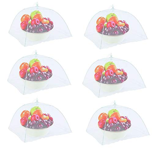 Large Mesh Pop - Premium Disposables 6 Large Pop-Up Mesh Net Screen Food Cover Tents, Outdoor Picnic Mesh Net Food Cover Protectors-Reusable-Collapsible Umbrella Set, 16 Inch, Keep Out Flies and Insects.