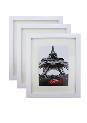 (Chen Bird 8x10 White Picture Frame Set of 3 for Pictures 5x7 with Mat or 8x10 without Mat for Wall Photo Tabletop Frame with Stand)