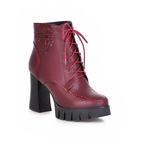 VogueZone009 Damen Hoher Absatz Nubukleder Metalldekoration Schnüren Stiefel, Rot, 41
