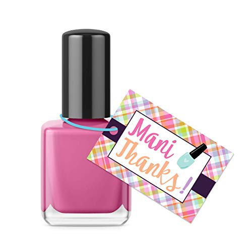 Mani thanks - Glossy thank you tags for nail polish - 16 count - Perfect for party favors, gift bags, spa days, baby shower