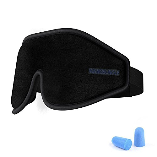 GINIMAX 3D Sleep Eye Mask Cover Ear Plugs, Light Blocking Memory Foam Eye Mask Adjustable Strap Sleeping/Shift Work/Naps/Night Blindfold Eyeshade Men Women
