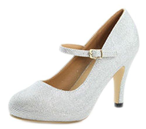 Bella Marie Helena-13 Women's almond toe low heel mary jane glitter or suede pumps Silver 8
