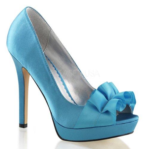 Pumps Plateau mit Burlesque Blau 42 Heels sexy Fabulicious 35 Peeptoe Lumina 42 Satin High Rüschen xqCwz8HY