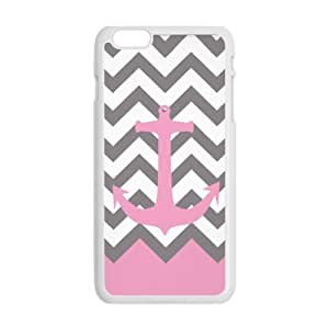 """Futefew Mobile Phone Shell Pink Pastel Anchor Gray Chevron Pattern Case for Iphone6 Plus 5.5""""(Laser Technology)-2 Colors-birthday Gift wangjiang maoyi"""