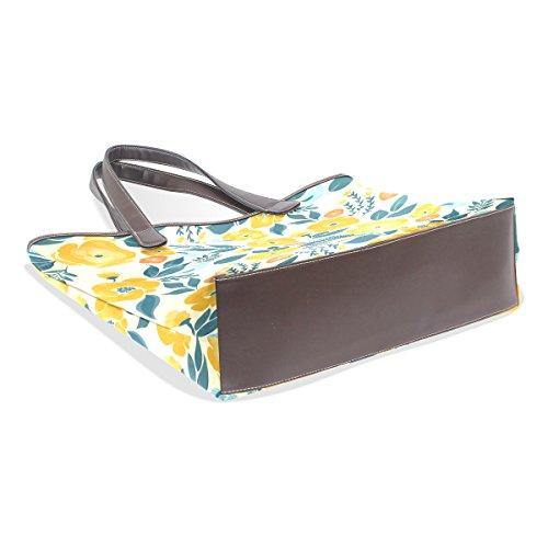 COOSUN Frauen Gelb Floral Pu Leder Große Einkaufstasche Griff Umhängetasche