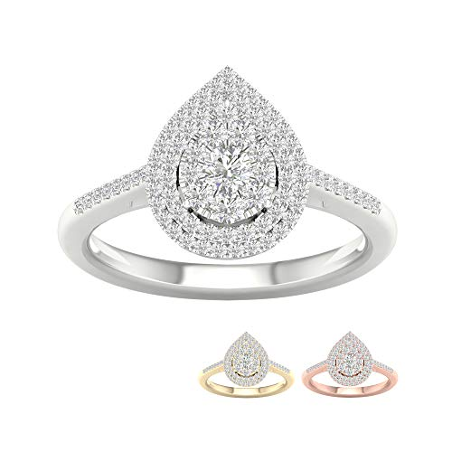IGI Certified 10k White Gold 1/3 Ct TDW Diamond Cluster Pear-Shaped Frame Engagement Ring (I-J, -