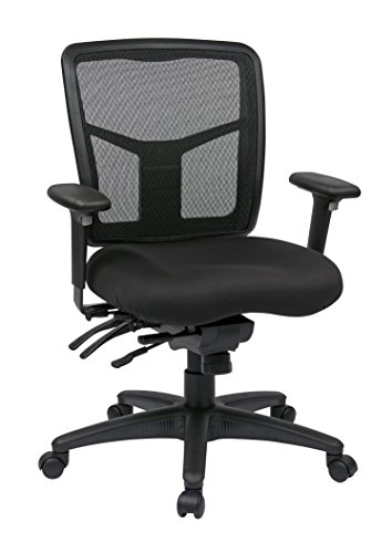 Chair Star Base Pneumatic Seat (Office Star Mid Back ProGrid Back FreeFlex Seat with Adjustable Arms and Multi-Function and Seat Slider, Black Managers Chair)