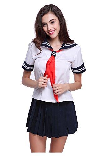 Lemail Girls Japanese Sailor Uniform Short Sleeves Anime Cosplay Navy School Uniform M (Halloween School Uniform)
