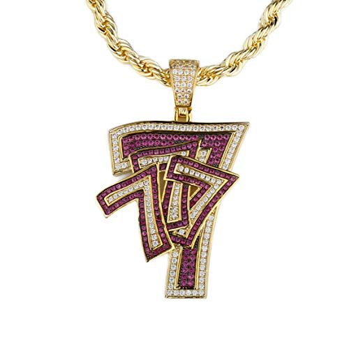 TENG LAI Hip Hop Iced Out Cubic Zirconia Lucky Number 7 Pendant Necklace for Men and Women