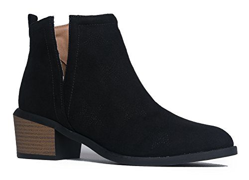 Side Cut Out Closed Toe-Suede Mid Heel-Rocker-Chic Ankle Bootie 9 (Go Go Boots Australia)