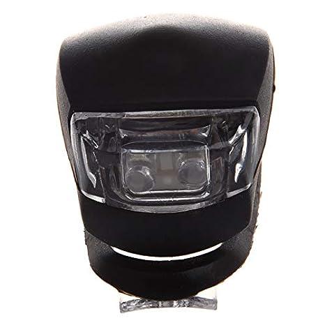 SODIAL(R) Luz Blanca con Doble LED Impermeable con Silicona Negra para Bicicleta: Amazon.es: Electrónica