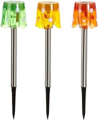 Best Season 477-33 - Farol de luz LED solar para jardín (3 unidades), color verde, rojo y amarillo