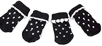 Calcetines de punto antideslizante para perro con huellas de patas, lunares negros en gris para perros pequeños, medianos y grandes, negro, small