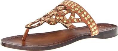 FRYE Women's Rachel Stud Thong Sandal, Cognac Veg/Tan, 7 M US