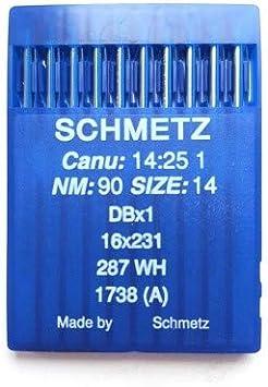 La Canilla ® - 10 Agujas para Máquina de Coser Industrial Schmetz DBx1 1738(A) 16x231 Grosor 90/14 Pistón Redondo