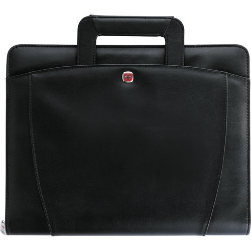 Wenger Professional Presentation Portfolio with Handler 1.25'' 3 Ring Binder Note Writing Pad, Black