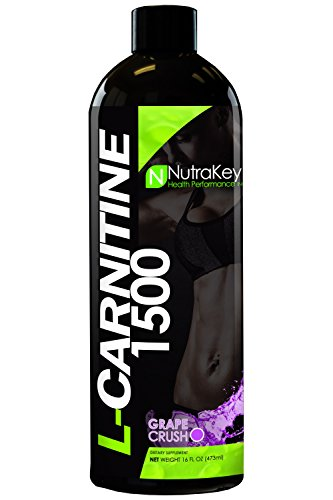 NutraKey L-Carnitine 1500 Liquid Fat Burner, (Grape Crush) 31 Servings