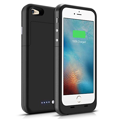 iPhone 6/6S Battery Case 3800mAh, Gasopic Extended Slim Rechargeable Battery Charger Case External Battery Pack Portable Power Bank Protective Charging Case for iPhone 6S, 6-Black