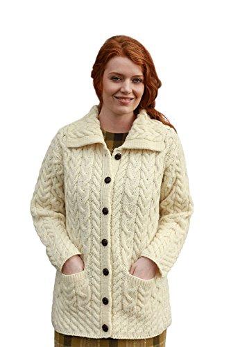 Long Chunky Wool Aran Knit Cardigan with Collar (X-Large, Natural) (Cardigan Wool Irish Sweater)