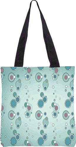 Snoogg blauen Kreise und Blasen 2594 13,5 x 15 Zoll-Shopping-Dienstprogramm-Einkaufstasche aus Polyester-Segeltuch gemacht
