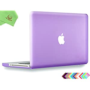 "UESWILL Smooth Soft-Touch Matte Frosted Hard Shell Case Cover for MacBook Pro 13"" with CD-ROM (Non-Retina)(Model:A1278)+ Microfibre Cleaning Cloth, Purple"