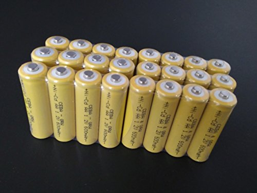 Bulk Pack   24 Pcs Button Top Aa Nicd 600 Mah 1 2 V Rechargeable Batteries For Solar  Etc