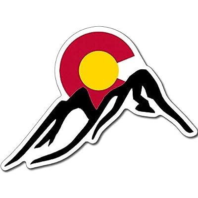 American Vinyl Mountains with Colorado C Logo Behind Sticker (Logo co rv Travel ski): Automotive