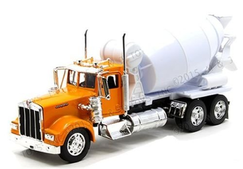 NEW 1:32 NEWRAY DISPLAY DUMP TRUCK COLLECTION - ORANGE KENWORTH W900 CEMENT MIXER Diecast Model Car By NEWRAY Toys (Without Retail Box)