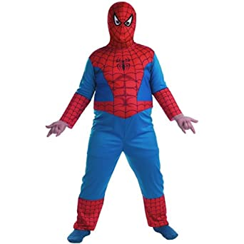 More on Boys Spider-Man Muscle Costume: Your little man is ready to swing into action in a futuristic Spider-Man costume for boys — all he has to do is spread his arms to show off the web cape attached to the jumpsuit. The Spider-Man Muscle Costume features the logo on the chest and red felt spikes on the arms.