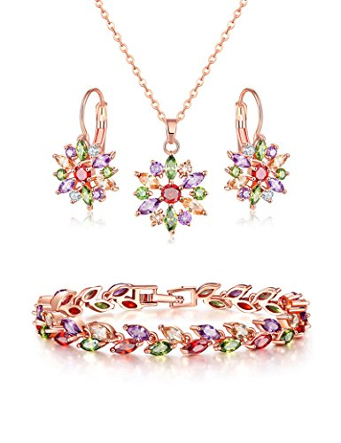 Lujuny Necklace Earring Bracelet Set - AAA Zircon Rose Gold Flower Pendant Ear Stud and Leaf Bangle (Colorful 6.7 inch Bracelet)