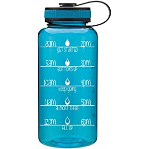 Wide Mouth 34oz Teal Aqua Water Bottle - Inspirational Water Tracker for Hydration Tracking with Durable Strap by LivinLotus (BPA Free)