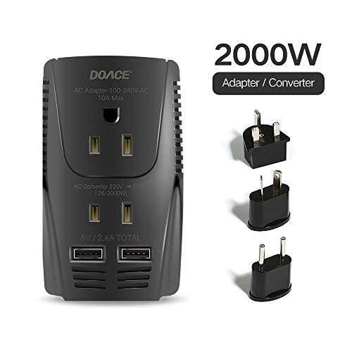DOACE Universal Travel Adapter with 3 AC Outlets, 10A Worldwide All in One Lightweight Mini Size Traveler Adaptor Wall…
