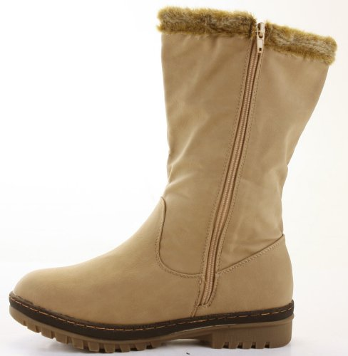 Womens Winter Fur Lined Quilted Low Flat Heel Snow Calf Boots Size 3-8 Beige YxFbAPuLvM