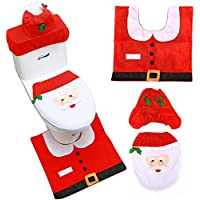 T Tersely 3 Pcs Christmas 3D Santa Toilet Seat Cover, Xmas Decoration Novelty Lid Seat Cover Water Tank Non-Slip Rug…