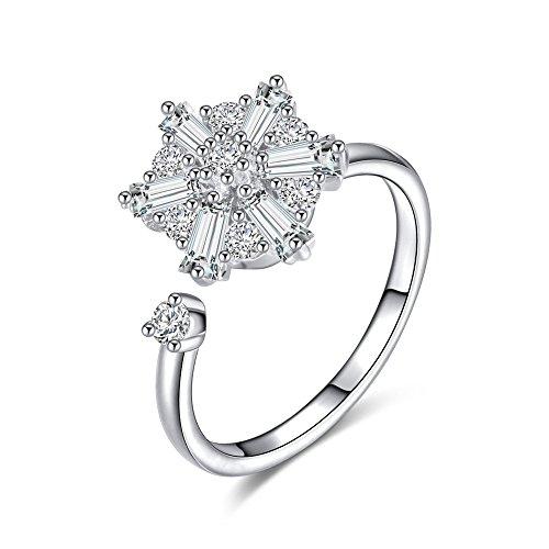 AoedeJ Fashion Women Anti-anxiety Spinning Rings Open Adjustable Rotating Cubic Zirconia Rings Wedding Rings (Spinning Travel Bearings)