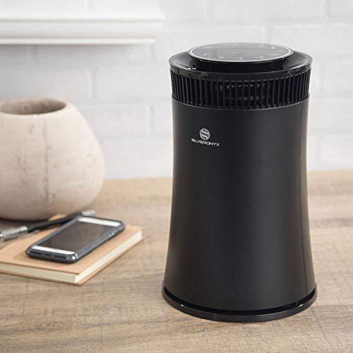 SilverOnyx Air Purifier for Home Large Room with True HEPA Filter, Air Quality Monitor, UVC Sanitizer, Ionizer, Home Air Cleaner for Allergies, Pets, Smoke, Dust, Mold. Carbon Filter 500 sq ft. Black