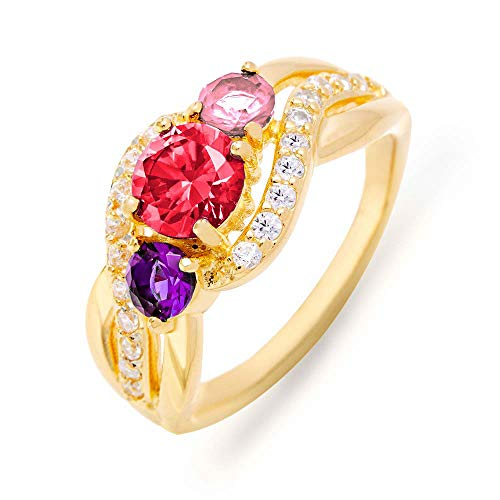 Gold Plated Custom 3 Stone Infinity Swirl Simulated Birthstone Mothers Ring, Sizes 5 to 9