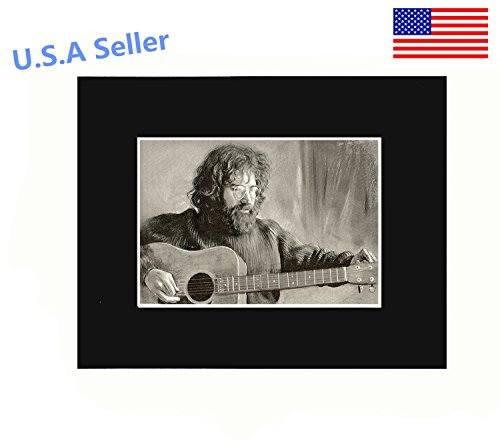 Jerry Garcia Playing Guitar Portrait 8x10 Black Matted Art Artworks Print Paintings Printed Picture Photograph Poster Gift Wall Decor Display USA Seller ()
