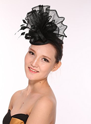 8851aeaf110 Newest Women s Large Sinamay Fascinator Headband Cocktail Hat 7 Colors  Available (Black) at Amazon Women s Clothing store
