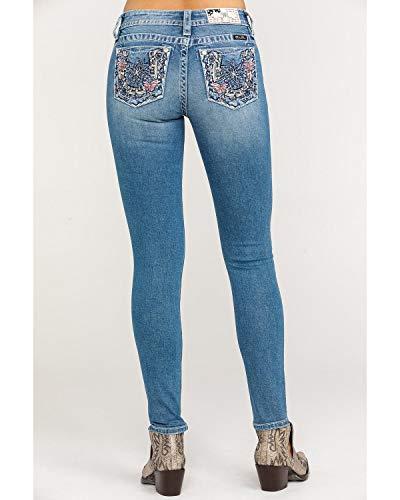 Miss Me Women's Floral Horse Butterfly Light Skinny Jeans Blue 34W x 30L
