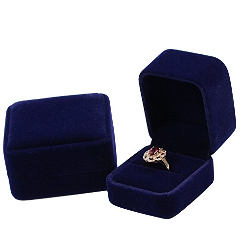 duoduodesign Dark Blue Classic Velvet Engagement Ring Box